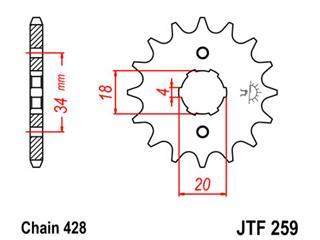 Pignon JT SPROCKETS 15 dents acier pas 428 type 529 Honda XL125 - 46025915