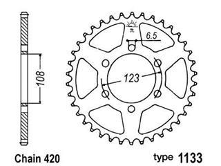 Couronne acier B1 53 dents chaine 420 Derbi/Aprilia/Peugeot - 47671853