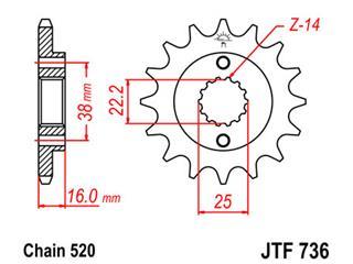 JT SPROCKETS Front Sprocket 15 Teeth Steel Standard 520 Pitch Type 736 Ducati