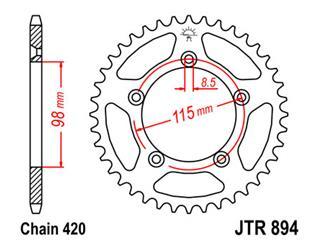 Stahl-Kettenrad JT Sprockets 46 Zähne Typ 894, Kette 420 KTM SX60/S X65
