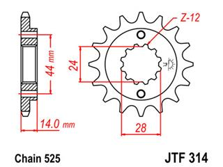 Pignon JT SPROCKETS 16 dents acier pas 525 type 314 - 46031416