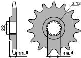VOORTANDWIEL 16 TANDEN DR125S RAIDER '85-'94 DR125SE R T/M Y '94-'00