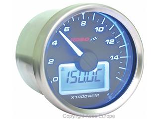 Koso HD-01R GP Style universal rev counter with white background
