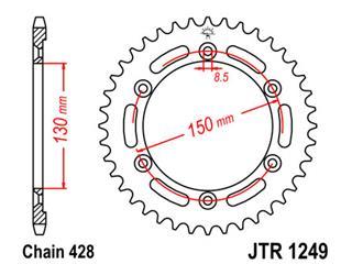 Couronne JT SPROCKETS 51 dents acier pas 428 type 1249 - 47124951