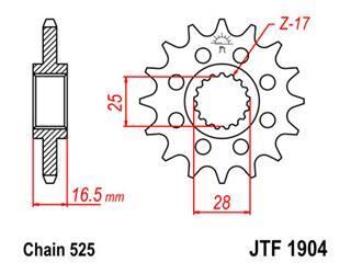 Pignon JT SPROCKETS 17 dents acier pas 525 type 1904 KTM 950 Supermoto - 46190417