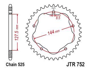 JT SPROCKETS Rear Sprocket 43 Teeth Steel Standard 525 Pitch Type 752