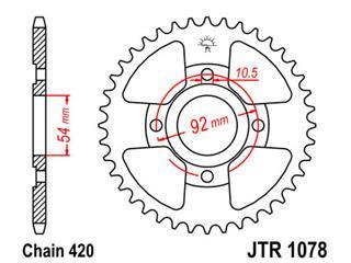 Couronne JT SPROCKETS 47 dents acier pas 420 type 1078 - 47107847