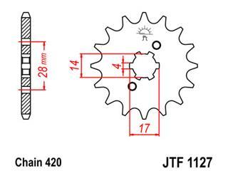 Pignon JT SPROCKETS 14 dents acier pas 420 type 1127 - 46112714