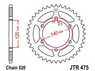 Couronne JT SPROCKETS 40 dents acier standard pas 520 type 475 Kawasaki KL250 - 47047540