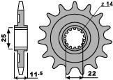 Pignon PBR 13 dents acier standard pas 520 type 2207 Sherco SE/SX 2.5I-F