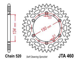 Couronne JT SPROCKETS 47 dents alu ultra-light anti-boue pas 520 type 460