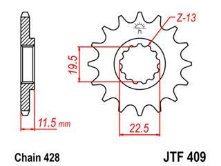 Pignon JT SPROCKETS 16 dents acier pas 428 type 409 Suzuki DR125 - 46040916