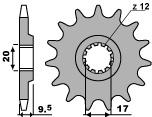 Pignon PBR 14 dents acier standard pas 428 type 2084 KTM SX85