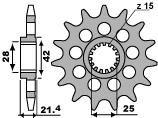 PBR Front Sprocket 15 Teeth Steel Standard 525 Pitch Type 2150 Aprilia 750 Shiver