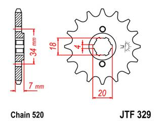 Pignon JT SPROCKETS 13 dents acier pas 520 type 329 - 46032913