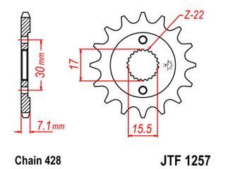 Pignon JT SPROCKETS 15 dents acier pas 428 type 1257 Honda - 46125715