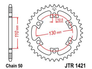 Couronne JT SPROCKETS 40 dents acier pas 530 type 1421 Can-Am DS650 - 47142140