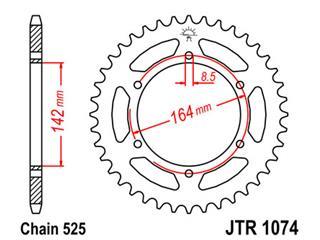 Couronne JT SPROCKETS 44 dents acier pas 525 type 1074 - 47107444