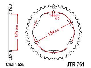 JT SPROCKETS Rear Sprocket 41 Teeth Steel Standard 525 Pitch Type 761