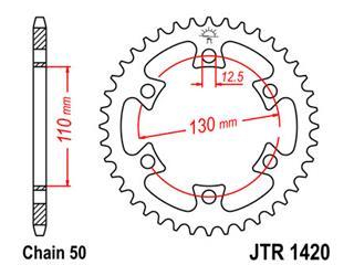 Couronne JT SPROCKETS 40 dents acier standard pas 530 type 1420 Can-Am DS/Baja 650 - 47142040
