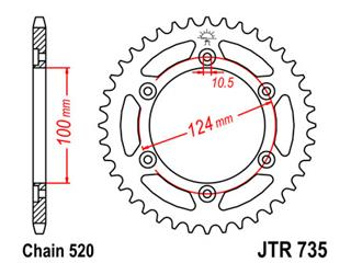 Couronne JT SPROCKETS 37 dents acier standard pas 520 type 735 - 47073537