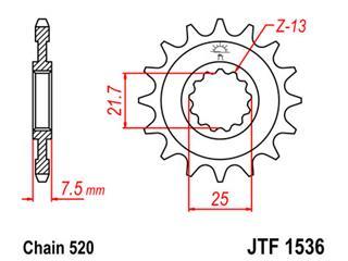 Pignon JT SPROCKETS 15 dents acier pas 520 type 1536 - 46153615