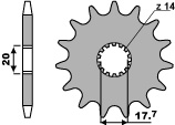 PBR 16-tooth sprocket for 428 Yamaha XVS125 DRAGSTAR chain