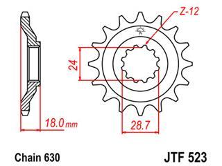Pignon JT SPROCKETS 15 dents acier pas 630 type 523 - 46052315