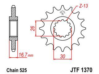Pignon JT SPROCKETS 15 dents acier pas 525 type 1370 Honda - 46137015