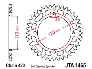Couronne JT SPROCKETS 46 dents alu ultra-light anti-boue pas 420 type 1465 Kawasaki KX65 - 470171
