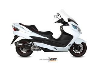 MIVV Speed Edge Stainless Steel Full Exhaust System Steel Black Muffler/Carbon End Cap Suzuki Burgman 400