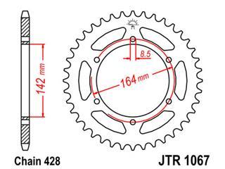 Couronne JT SPROCKETS 52 dents acier pas 428 type 1067 - 47106752
