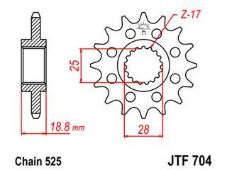 JT SPROCKETS Front Sprocket 17 Teeth Steel Standard 525 Pitch Type 704