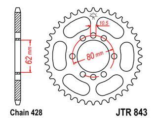 JT SPROCKETS Rear Sprocket 46 Teeth Steel Standard 428 Pitch Type 843