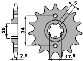 PBR 14-tooth sprocket for 520 HONDA VT125 C SHADOW chain