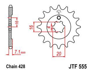 JT SPROCKETS Front Sprocket 14 Teeth Steel Standard 428 Pitch Type 555 Kawasaki
