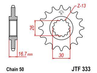 Pignon JT SPROCKETS 15 dents acier pas 530 type 333 Honda - 46033315