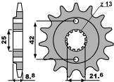 Pignon PBR 15 dents acier standard pas 520 type 525 Kawasaki ZXR400