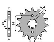 Pignon PBR 15 dents acier standard pas 428 type 263 Yamaha DT125LC
