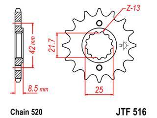 Pignon JT SPROCKETS 16 dents acier pas 520 type 516 - 46051616