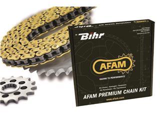 Kit chaîne AFAM 520 type MX4 13/48 114 maillons noir/or (couronne ultra-light) Honda CRF250R