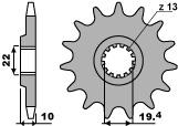 Pignon PBR 13 dents acier standard pas 520 type 435 Suzuki RM250 - 46443513