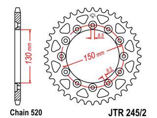JT SPROCKETS Rear Sprocket 52 Teeth Steel Standard 520 Pitch Type 245/2