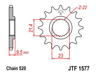 JT SPROCKETS Front Sprocket 15 Teeth Steel 520 Pitch Type 157