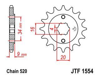 Pignon JT SPROCKETS 13 dents acier pas 520 type 1554 Yamaha YFS200 BLASTER - 46155413