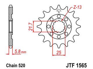 Pignon JT SPROCKETS 12 dents acier pas 520 type 1565 - 46156512