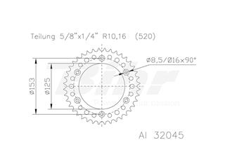 Corona ESJOT Aluminio negro 51-32045-51BP dientes
