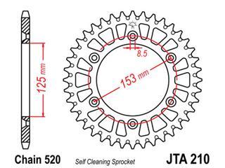 Couronne JT SPROCKETS 44 dents alu ultra-light anti-boue pas 520 type 210 - 470185