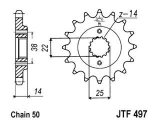 Pignon JT SPROCKETS 15 dents acier pas 530 type 497 - 46049715