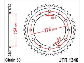 JT SPROCKETS Rear Sprocket 45 Teeth Steel Standard 525 Pitch Type 1340